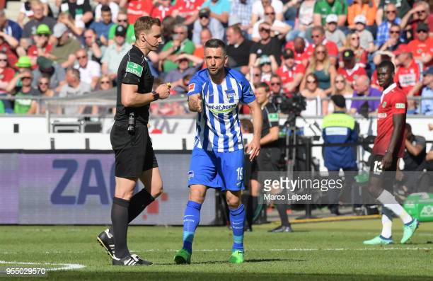 Vedad Ibisevic of Hertha BSC during the Bundesliga game between Hannover 96 and Hertha BSC at HDI Arena on May 5 2018 in Hannover Germany