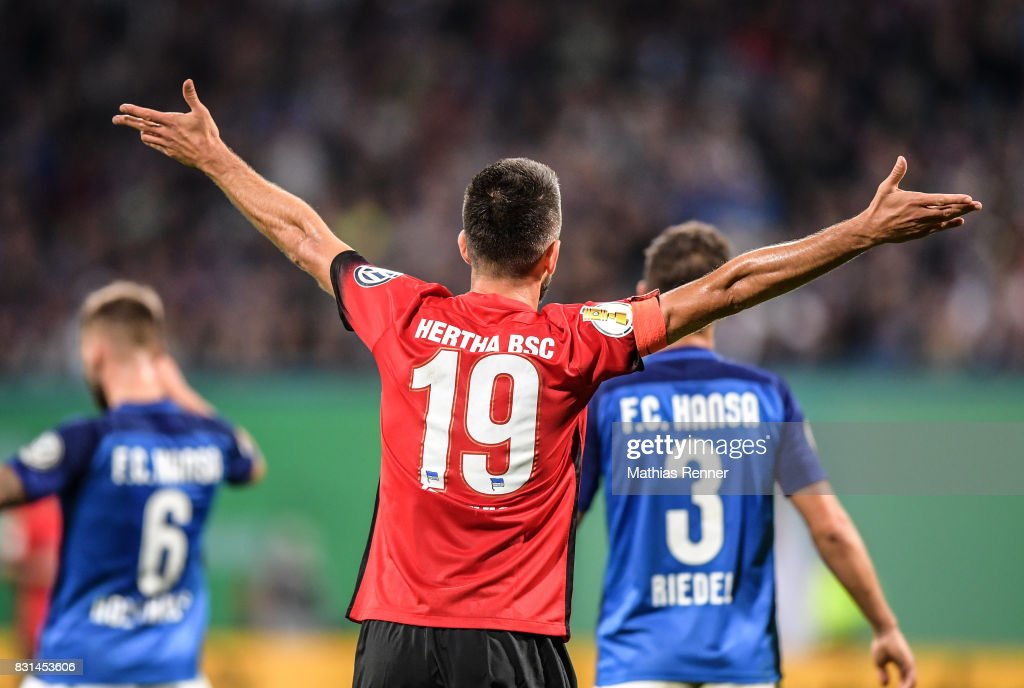 Vedad Ibisevic of Hertha BSC during the game between FC Hansa Rostock and Hertha BSC on August 14, 2017 in Rostock, Germany.