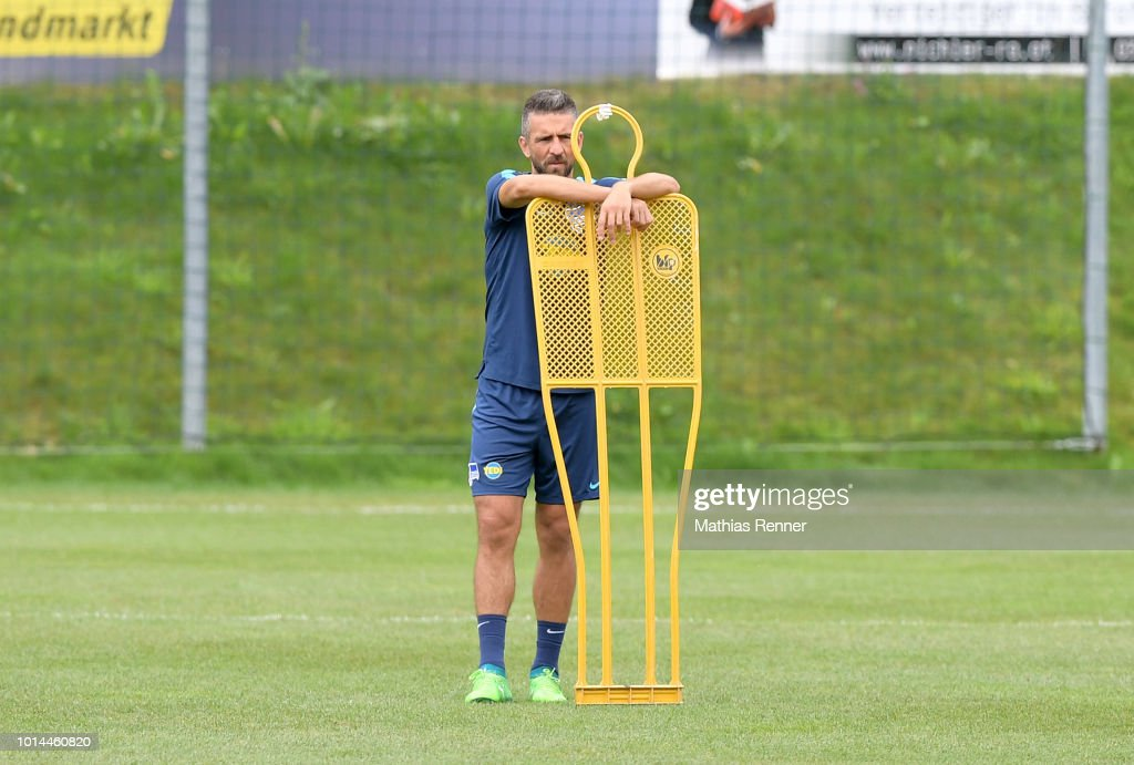 Vedad Ibisevic of Hertha BSC looks on during the training camp on august 10, 2018 in Schladming, Austria.