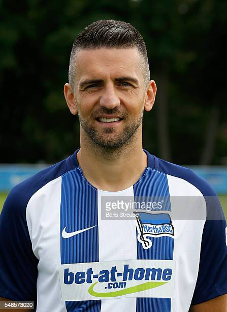 Vedad Ibisevic of Hertha BSC poses during the Hertha BSC Team Presentation on July 12 2016 in Berlin Germany
