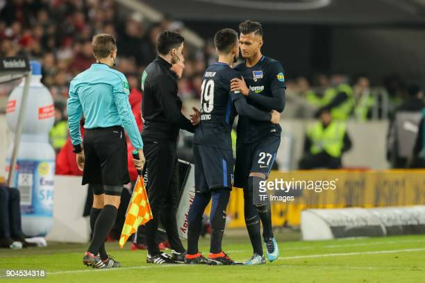 Vedad Ibisevic of Hertha comes on as a substitute for Davie Selke of Hertha during the Bundesliga match between VfB Stuttgart and Hertha BSC at...