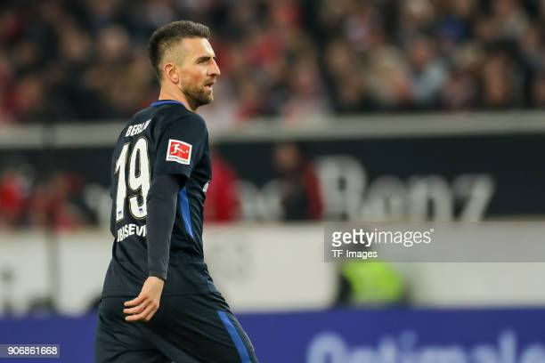Vedad Ibisevic of Hertha looks on during the Bundesliga match between VfB Stuttgart and Hertha BSC at MercedesBenz Arena on January 13 2018 in...