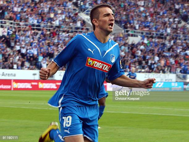 Vedad Ibisevic of Hoffenheim celebrates after scoring his team's first goal during the Bundesliga match between 1899 Hoffenheim and Hertha BSC Berlin...