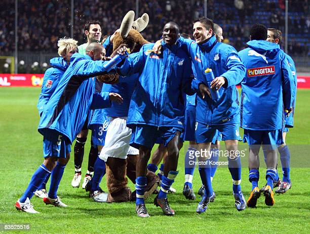 Vedad Ibisevic of Hoffenheim Demba Ba and their team mates celebrate the 41 victory after the Bundesliga match between 1899 Hoffenheim and Karlsruher...