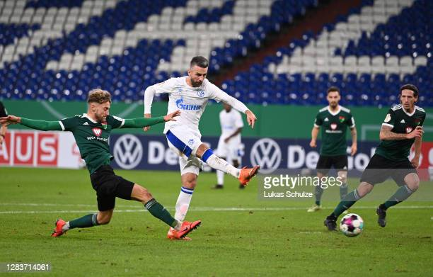 Vedad Ibisevic of Schalke scores his team's first goal during the DFB Cup first round match between 1. FC Schweinfurt 05 and FC Schalke 04 at Veltins...