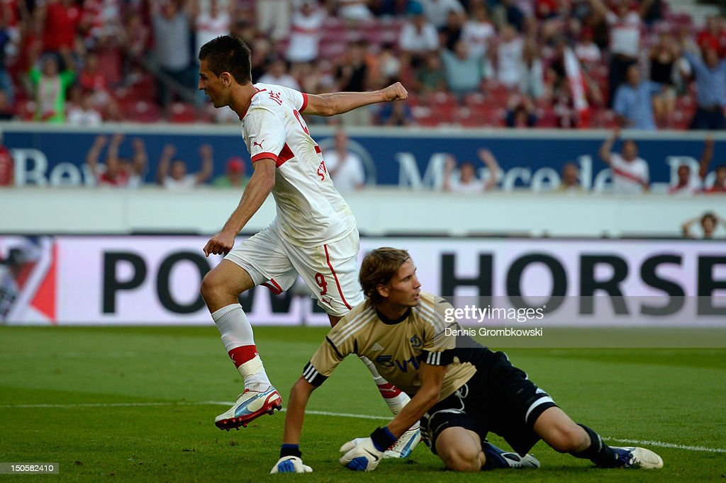 Vedad Ibisevic of Stuttgart celebrates after scoring his team's first goal during the UEFA Europa League Qualifying Play-Off match between VfB Stuttgart and FC Dynamo Moscow at Mercedes-Benz Arena on August 22, 2012 in Stuttgart, Germany.