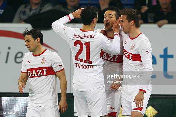 Vedad Ibisevic of Stuttgart celebrates his team's first goal with team mates Martin Harnik Khalid Boulahrouz and Tamas Hajnal during the Bundesliga...