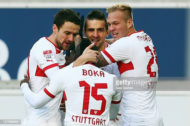 Vedad Ibisevic of Stuttgart celebrates his team's first goal with team mates Christian Gentner Arthur Boka and Raphael Holzhauser during the...