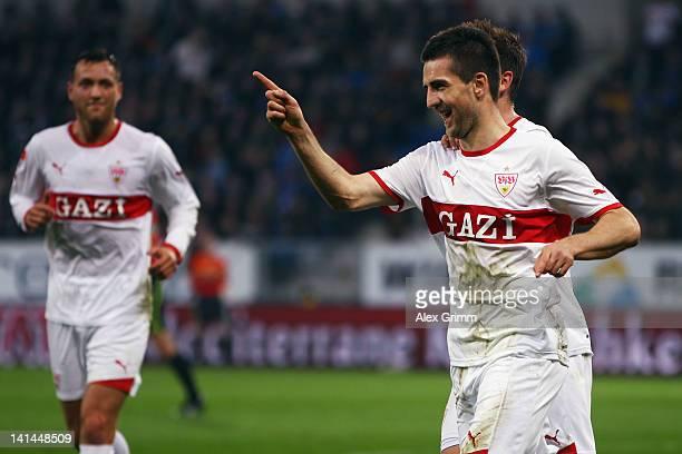 Vedad Ibisevic of Stuttgart celebrates his team's second goal during the Bundesliga match between 1899 Hoffenheim and VfB Stuttgart at...
