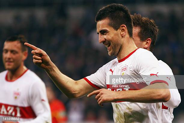 Vedad Ibisevic of Stuttgart celebrates his team's second goal during the Bundesliga match between 1899 Hoffenheim and VfB Stuttgart at...