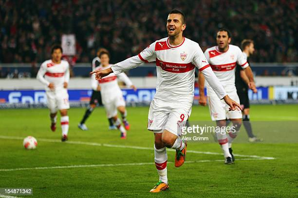 Vedad Ibisevic of Stuttgart celebrates his team's second goal during the Bundesliga match between VfB Stuttgart and Eintracht Frankfurt at...
