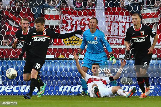Vedad Ibisevic of Stuttgart reacts during the Bundesliga match between VfB Stuttgart and FC Augsburg at Mercedes-Benz Arena on February 9, 2014 in...