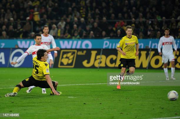 Vedad Ibisevic of Stuttgart scores his team's first goal during the Bundesliga match between Borussia Dortmund and VfB Stuttgart at Signal Iduna Park...