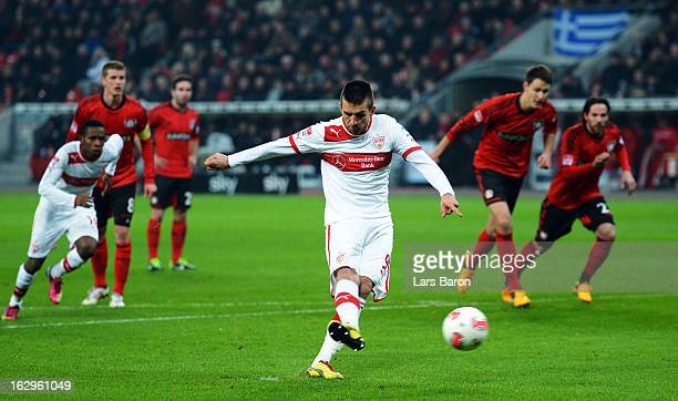 Vedad Ibisevic of Stuttgart scores his teams first goal from the penalty spot during the Bundesliga match between Bayer 04 Leverkusen and VfB...