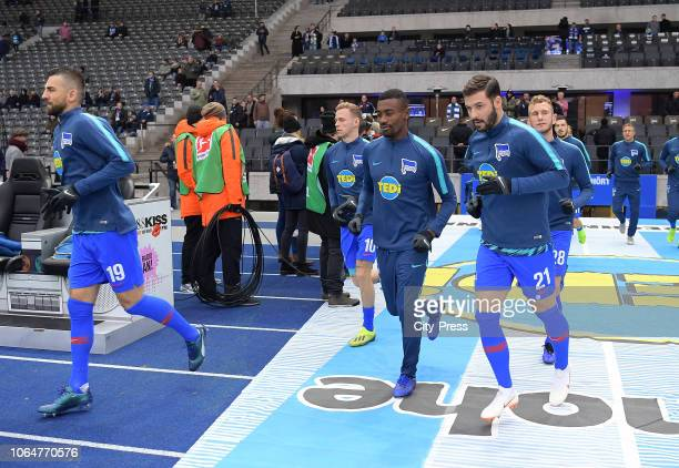 Vedad Ibisevic Ondrej Duda Salomon Kalou Marvin Plattenhardt and Fabian Lustenberger of Hertha BSC before the Bundesliga match between Hertha BSC and...