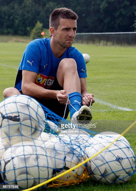 Vedad Ibisevic prepares for a training session of 1899 Hoffenheim during a training camp on June 30, 2009 in Stahlhofen am Wiesensee, Germany. Head...