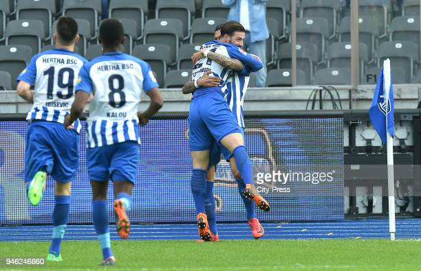 Vedad Ibisevic Salomon Kalou Marvin Plattenhardt and Davie Selke of Hertha BSC during the Bundesliga game between Hertha BSC and 1st FC Koeln at...