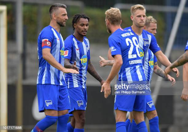 Vedad Ibisevic Valentino Lazaro Fabian Lustenberger and Arne Maier of Hertha BSC celebrate after scoring the 20 during the game between Hertha BSC...