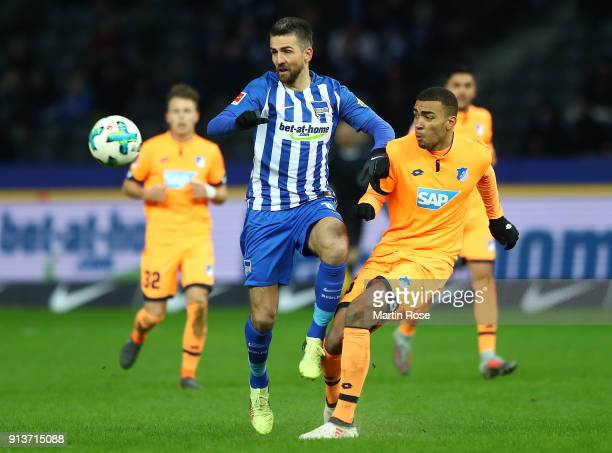 Vedad Ibisevicof Berlin fights for the ball with Kevin Akpoguma of Hoffenheim during the Bundesliga match between Hertha BSC and TSG 1899 Hoffenheim...