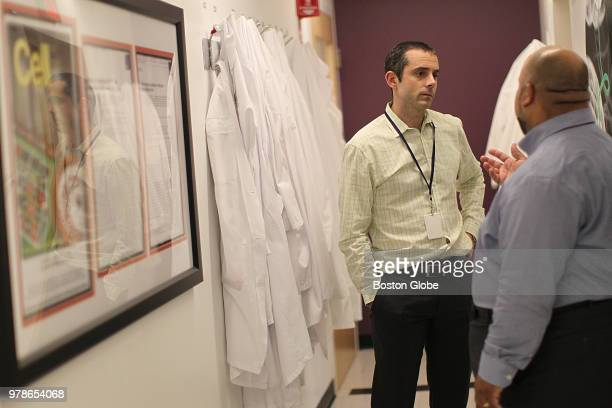 Vedanta Biosciences CEO Bernat Olle PhD left and Dan Couto Chief Technical Officer are pictured at the company's office in Cambridge MA on June 13...