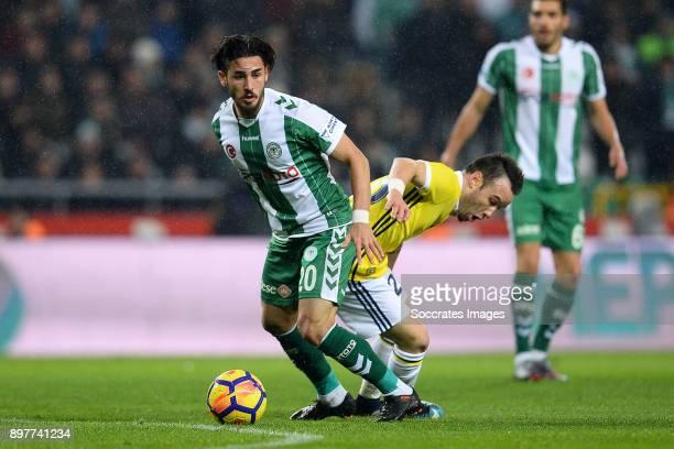 Vedat Bora of Konyaspor Mathieu Valbuena of Fenerbahce during the Turkish Super lig match between Konyaspor v Fenerbahce at the Konya Buyuksehir...