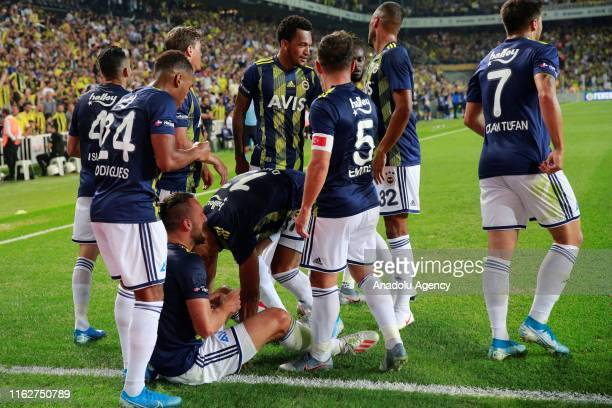 Vedat Muriqi of Fenerbahce and his teammates celebrate after scoring a goal during the Turkish Super Lig soccer match between Fenerbahce and...