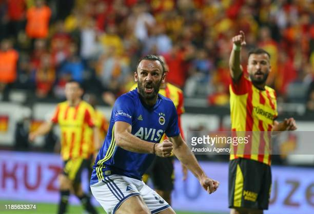 Vedat Muriqi of Fenerbahce celebrates after Garry Mendes Rodrigues scored a goal during the Turkish Super Lig soccer match between Goztepe and...