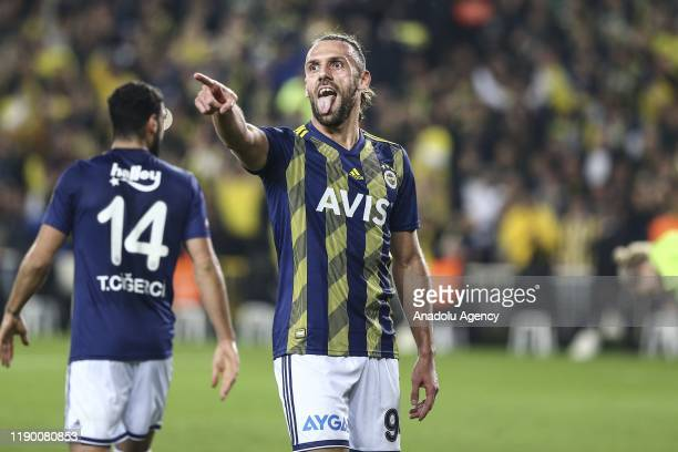 Vedat Muriqi of Fenerbahce celebrates after scoring a goal during Turkish Super Lig soccer match between Fenerbahce and Besiktas in Istanbul Turkey...