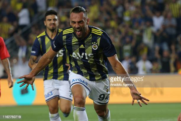 Vedat Muriqi of Fenerbahce celebrates after scoring a goal during the Turkish Super Lig soccer match between Fenerbahce and Gazisehir Gaziantep at...