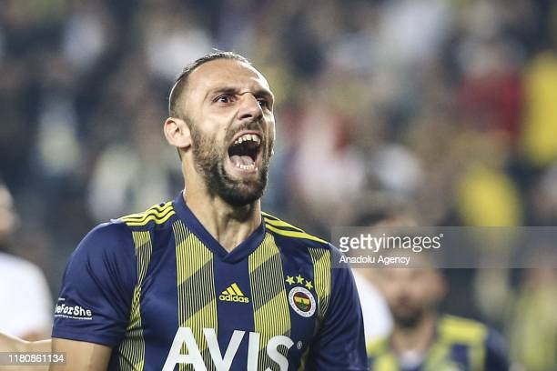 Vedat Muriqi of Fenerbahce celebrates after scoring a goal during the Turkish Super Lig soccer match between Fenerbahce and Kasimpasa in Istanbul...