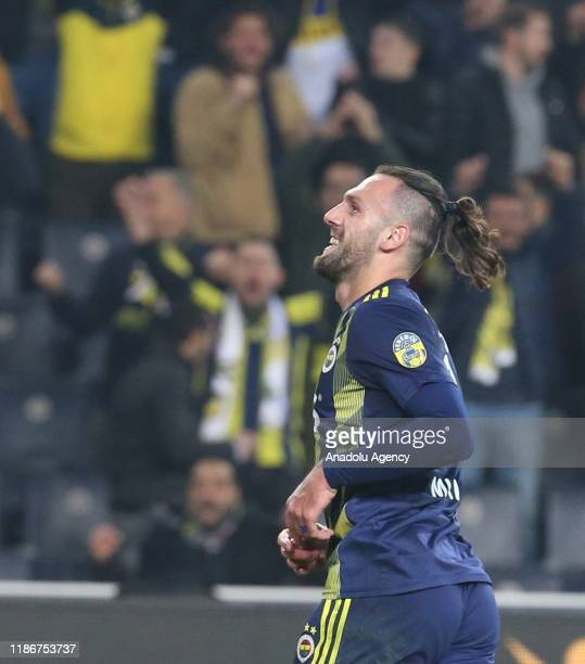 Vedat Muriqi of Fenerbahce celebrates after scoring a goal during the Turkish Super Lig week 14 soccer match between Fenerbahce and Genclerbirligi at...