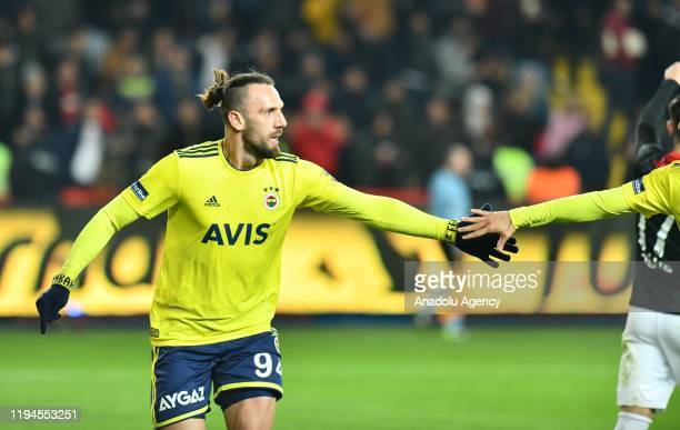 Vedat Muriqi of Fenerbahce celebrates after scoring a goal during the Turkish Super Lig week 18 football match between Gaziantep FK and Fenerbahce at...
