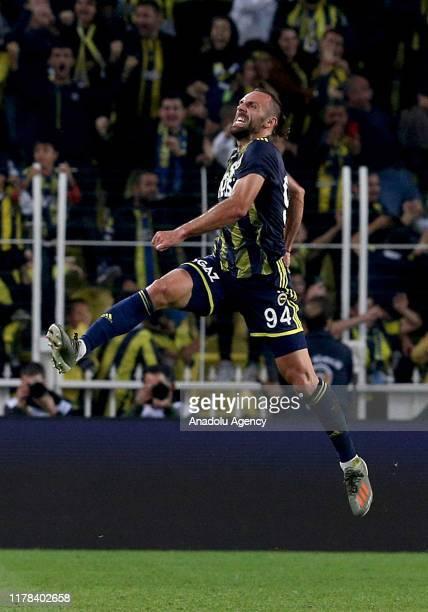 Vedat Muriqi of Fenerbahce celebrates his goal during the Turkish Super Lig match between Fenerbahce and Ittifak Holding Konyaspor at the Ulker...