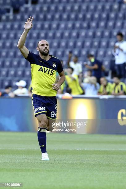 Vedat Muriqi of Fenerbahce greets supporters ahead of a friendly practice soccer match between Fenerbahce and Cagliari at the Ulker Stadium in...