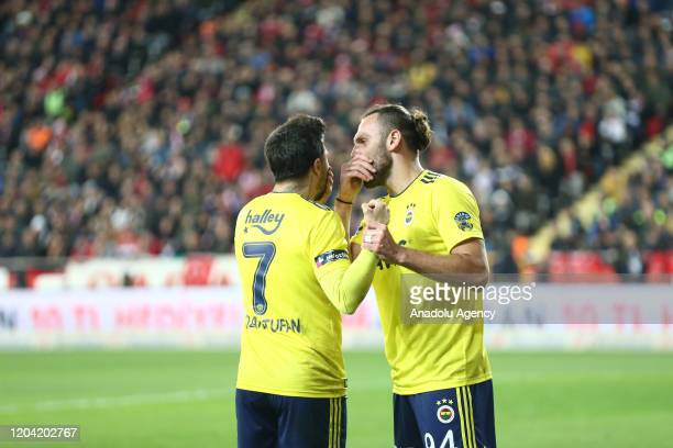 Vedat Muriqi of Fenerbahce is seen after scoring a goal during the Turkish Super Lig week 24 match between Fraport TAV Antalyaspor and Fenerbahce in...