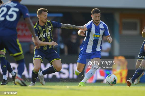 Vedat Muriqi of Fenerbahce Istanbul and Mathew Leckie of Hertha BSC during the match between Hertha BSC and Fenerbahce Istanbul on July 25 2019 at...