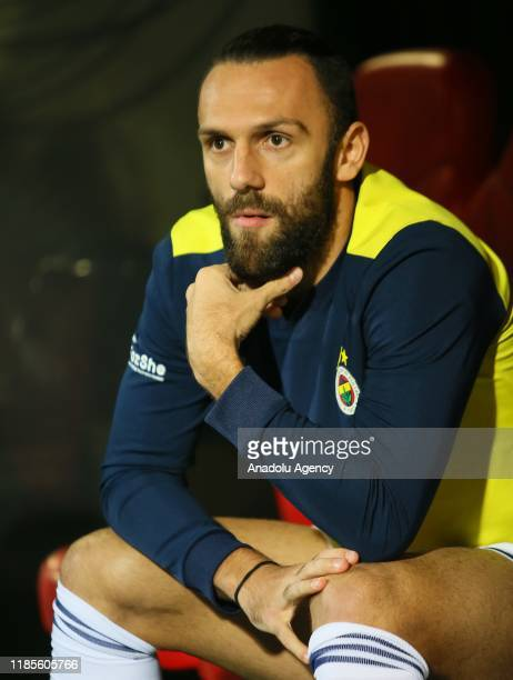 Vedat Muriqi of Fenerbahce looks on from the bench during the Turkish Super Lig soccer match between Goztepe and Fenerbahce at Bornova Aziz Kocaoglu...