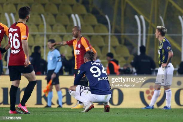 Vedat Muriqi of Fenerbahce reacts after the Turkish Super Lig derby match between Fenerbahce and Galatasaray in Istanbul Turkey on February 23 2020...