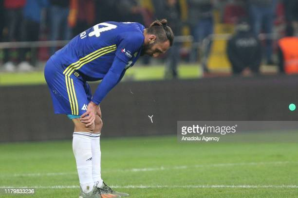Vedat Muriqi of Fenerbahce reacts during Turkish Super Lig soccer match between Istikbal Mobilya Kayserispor and Fenerbahce at Kadir Has Stadium in...