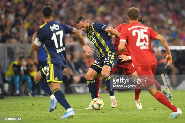Vedat Muriqi of Fenerbahce vies for the ball during the Audi Cup semi final soccer match between FC Bayern Munich and Fenerbahce Istanbul at the...