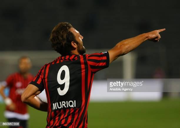 Vedat Muriqi of Genclerbirligi celebrates after scoring a goal during the Turkish Super Lig soccer match between Genclerbirligi and Besiktas at 19...