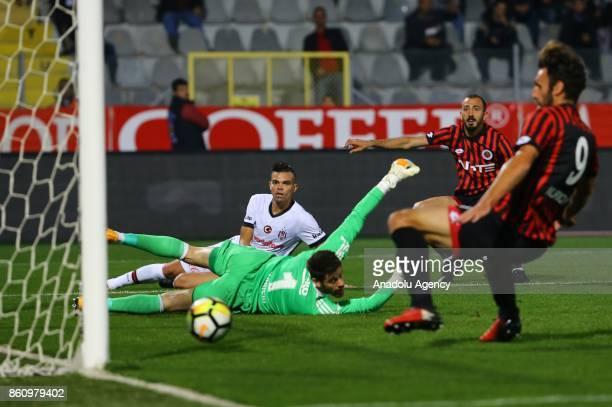 Vedat Muriqi of Genclerbirligi scores a goal during the Turkish Super Lig soccer match between Genclerbirligi and Besiktas at 19 Mays Stadium in...