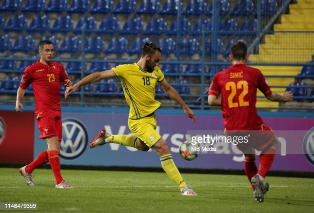 Vedat Muriqi of Kosovo during the 2020 UEFA European Championships group A qualifying match between Montenegro and Kosovo at Podgorica City Stadium...