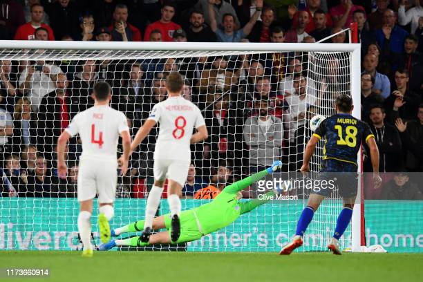 Vedat Muriqi of Kosovo scores his sides third goal from the penalty spot during the UEFA Euro 2020 qualifier match between England and Kosovo at St...