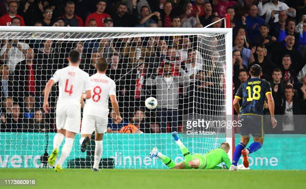 Vedat Muriqi of Kosovo scores his sides third goal from the penalty spot during the UEFA Euro 2020 qualifier match between England and Kosovo at St....