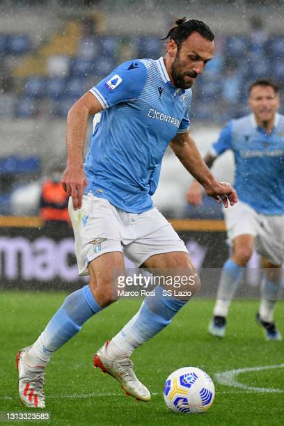 Vedat Muriqi of SS Lazio in action during the Serie A match between SS Lazio and Benevento Calcio at Stadio Olimpico on April 18, 2021 in Rome,...