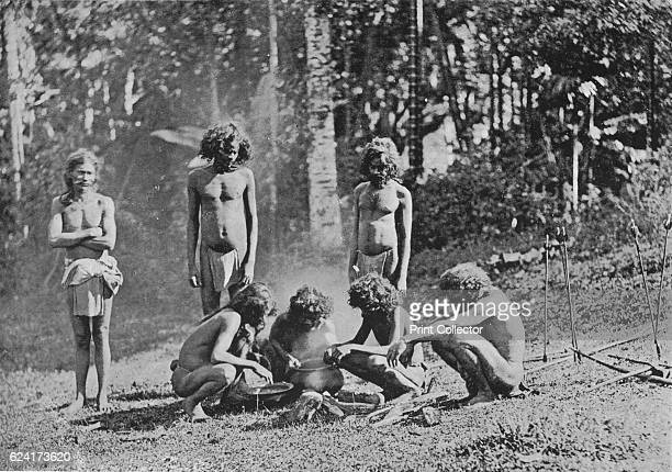Veddahs or Wild Men' c1890 From The Hundred Best Views of Ceylon [Plâté Ltd Colombo Kandy Nuwara Eliya 1910] Artist Alfred William Amandus Plate