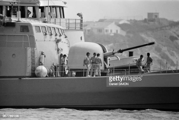 Vedette lancemissiles Tabarzin de la marine iranienne détournée par un commando hostile au régime de l'ayatollah Khomeini non loin de Toulon le 19...