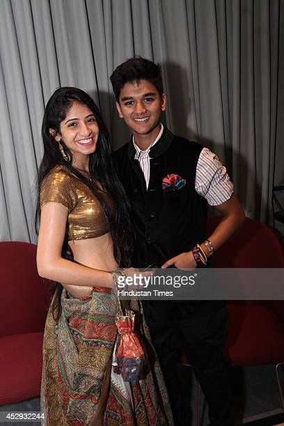 Vedika Bhasin and Mahanaryaman Scindia during a fashion show presenting jewellery and Couture Collection by jewelery brand Nirav Modi and fashion...