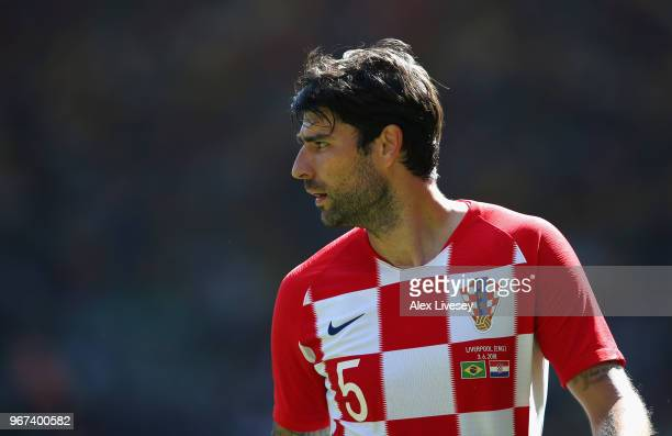 Vedran Corluka of Croatia looks on during the International friendly match between of Croatia and Brazil at Anfield on June 3 2018 in Liverpool...